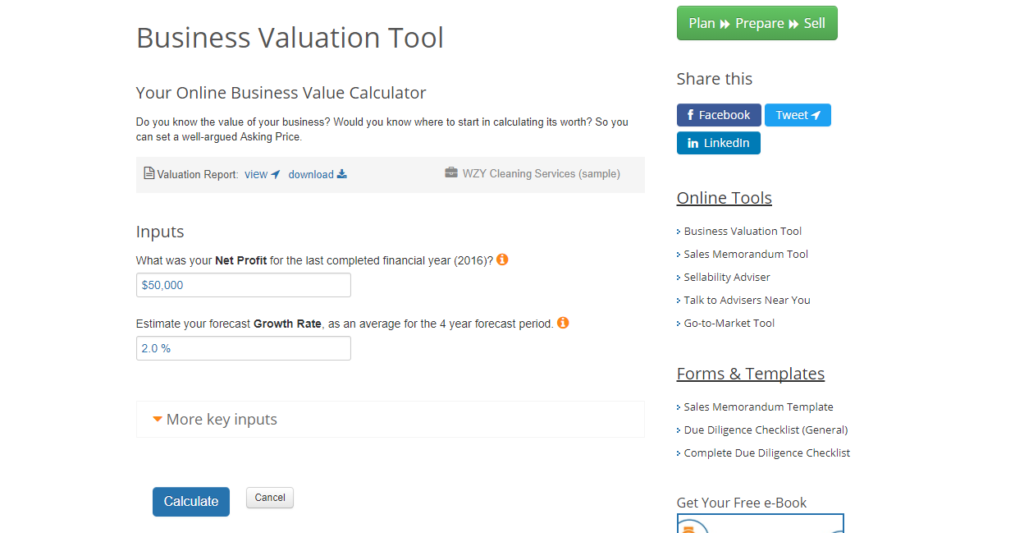 Business Valuation Calculator ExitAdviser Business Valuation Tool