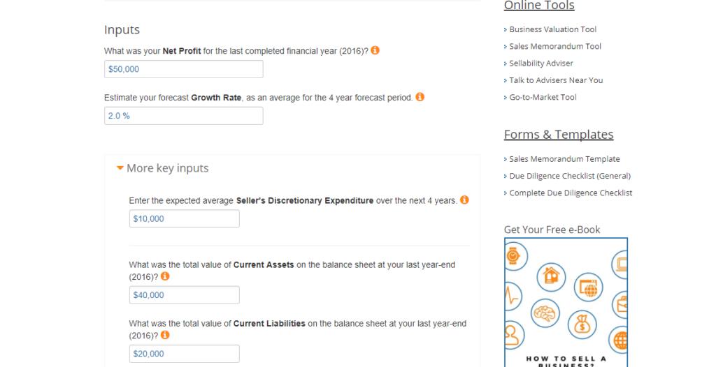 DCF Inputs Business Valuation Calculator ExitAdviser