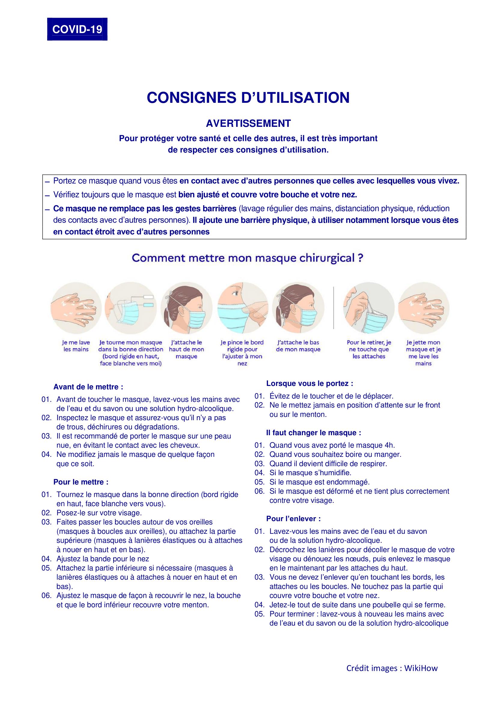 Consignes d'utilisation du masque chirurgical