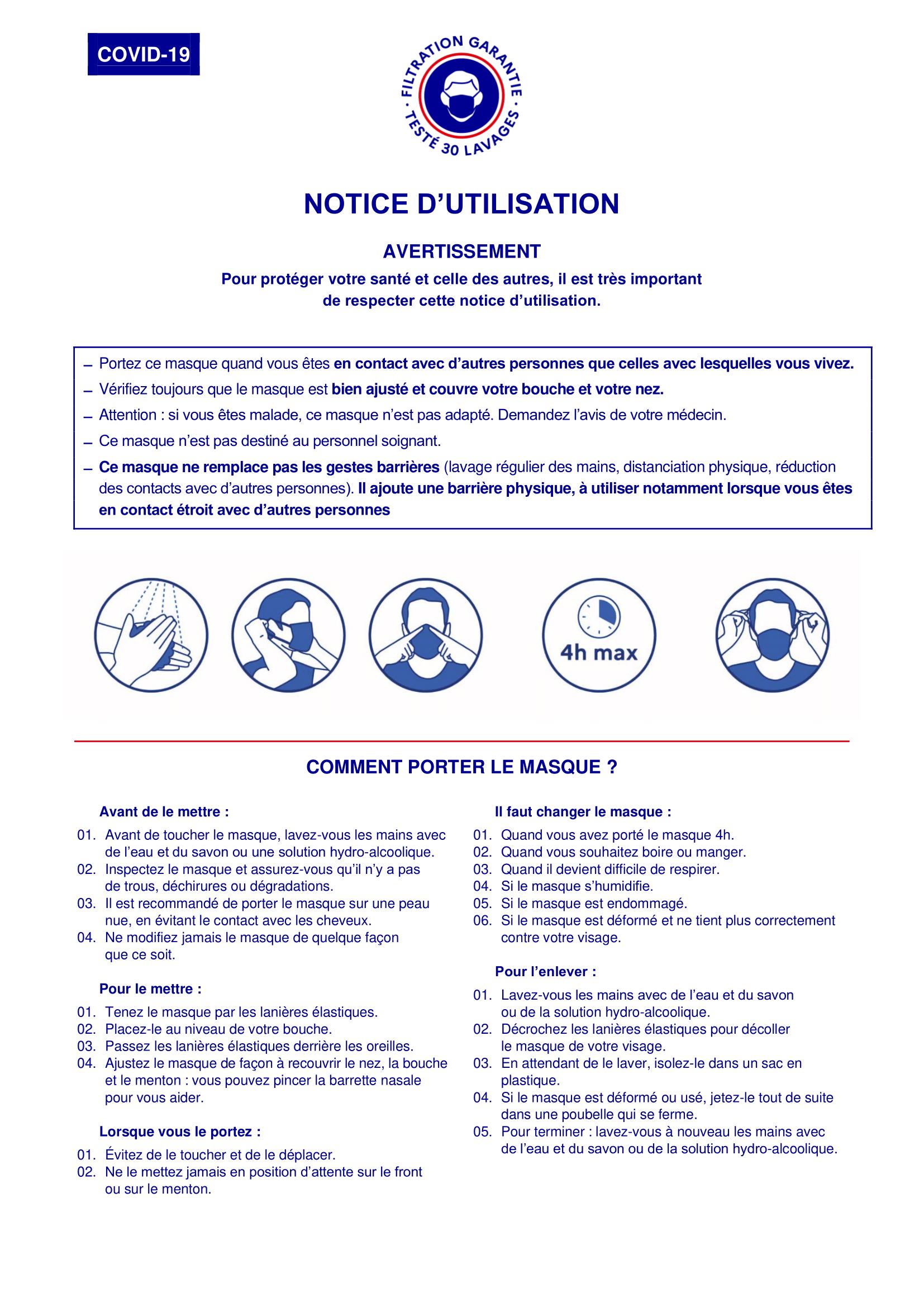 Consignes d'utilisation du masque 30 lavages