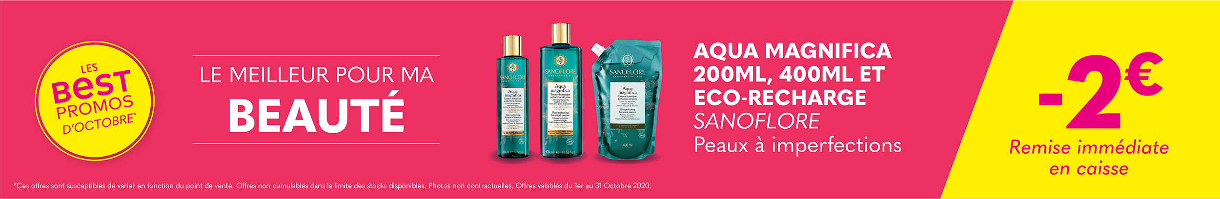 AQUA MAGNIFICA 200ML,  400ML & ECO-RECHARGE  - SANOFLORE / Peaux à imperfections