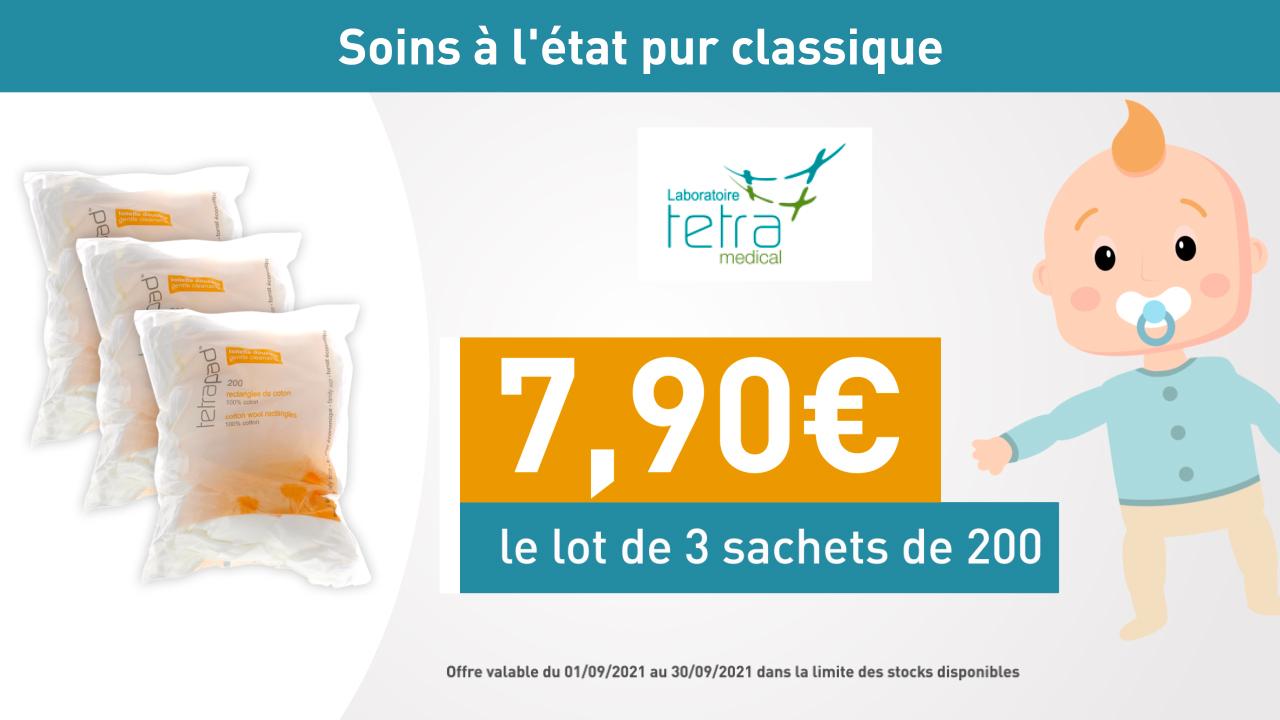 TETRA Rectangle Coton - Lot de 3 = 7,90€
