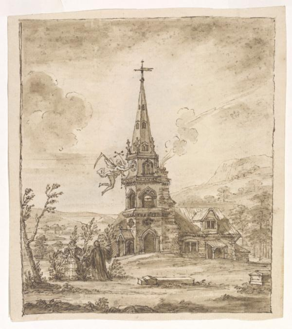 Drawing of an Gothick folly by William Kent, depicting time altering the hands of a clock