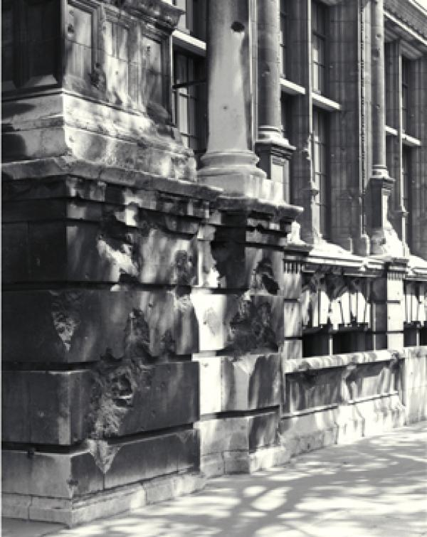 Aston Webb façade of the V&A, Exhibition Road, showing bomb damage still visible