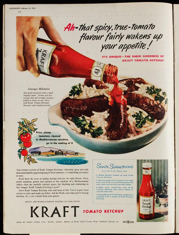 Advertisement for Kraft tomato ketchup, in Illustrated Magazine, 23rd February, 1952. © Victoria and Albert Museum, London