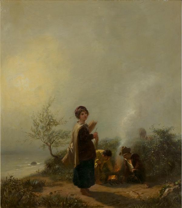 Oil painting, 'The Mist: Children Round a Fire', Barthélémy Menn, Swiss school, ca.  1845. Museum number: 1600-1869 © Victoria and Albert Museum, London
