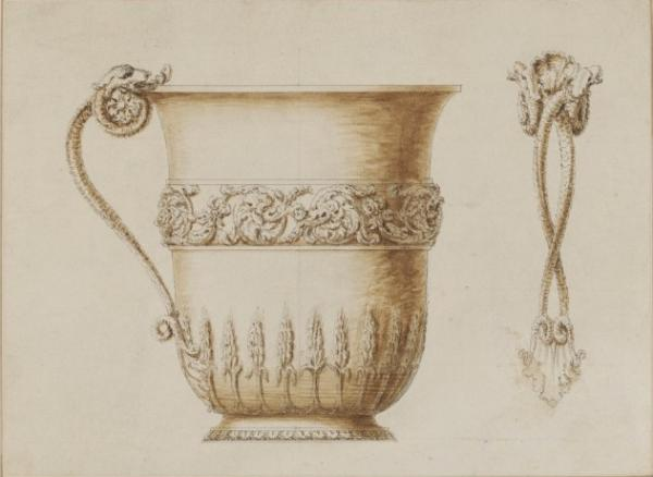 Prepatory drawing of a cup by John Vardy, after a design by William Kent