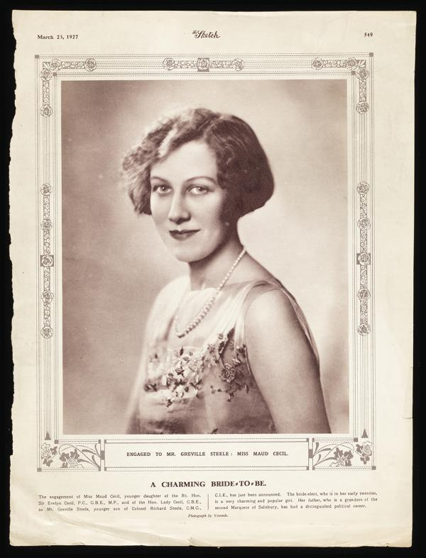 The Sketch features the newly engaged Maud Cecil on their cover, 1927