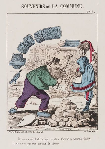 Satirical print of two figures with a collapsing column in the background