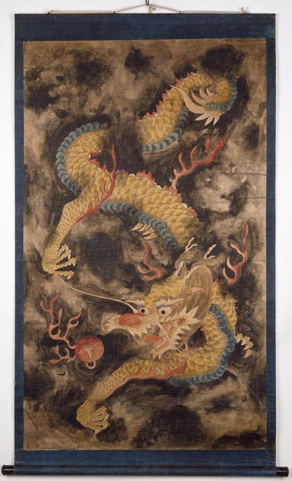Dragon and Clouds, painting, unknown maker, 1800 - 1900, Korea. Museum no. FE.48:1-1993. © Victoria and Albert Museum, London
