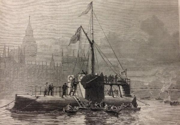 The cylinder ship Cleopatra, with the obelisk, at Westminster Bridge