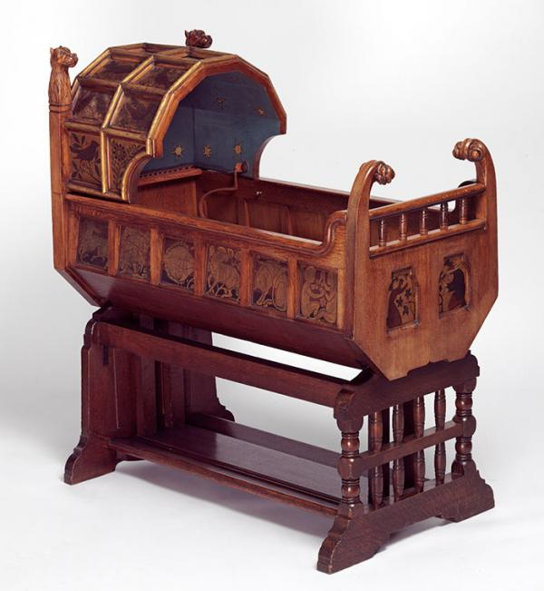 Cradle, Richard Norman Shaw, 1861. Museum no. CIRC.847:1 to 3-1956. © Victoria and Albert Museum, London