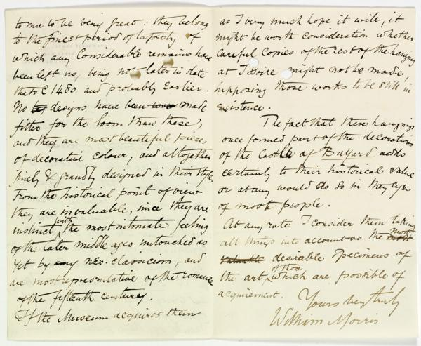 Pages of a letter from William Morris
