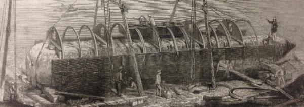 "Construction of the cylinder ship ""Cleopatra"" around the Egyptian obelisk"