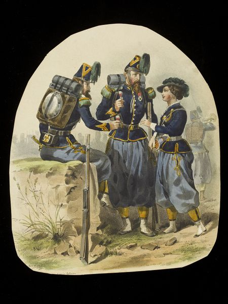 Lithograph of three figures in uniform