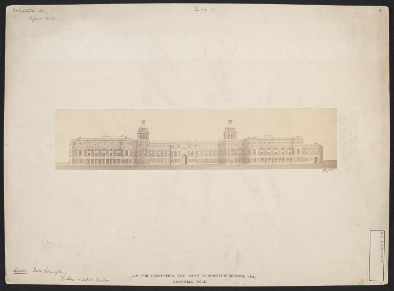 Early photograph of a model for the V&A buildings