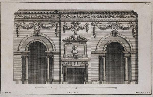 Engraving of the Great Dining Room at Houghton Hall, designed by William Kent, drawn and published London, 1743, by Isaac Ware