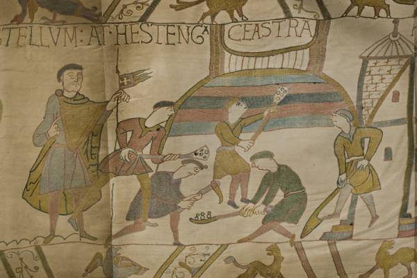 Photograph of a portion of the Bayeux tapestry by Joseph Cundall