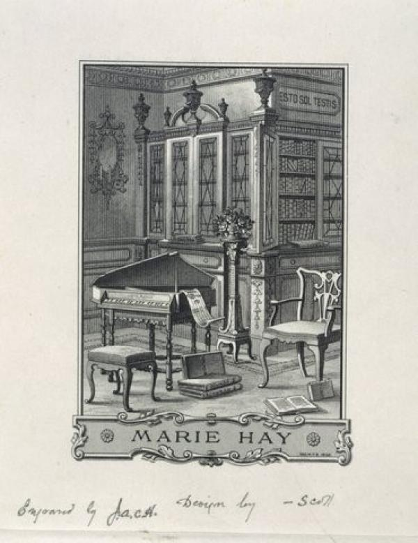 Bookplate of Marie Hay, W. Phillips Barret, 1898. Museum number E.2031-1946. © Victoria and Albert Museum, London