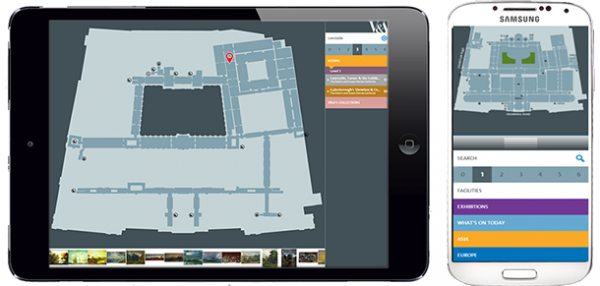 The V&A Digital Map on a landscape tablet and a portrait smartphone showing responsiveness to screen size and orientation