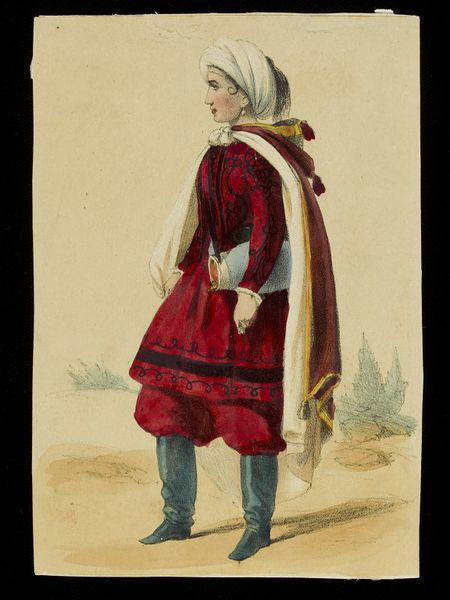 Lithograph of a woman in a red uniform