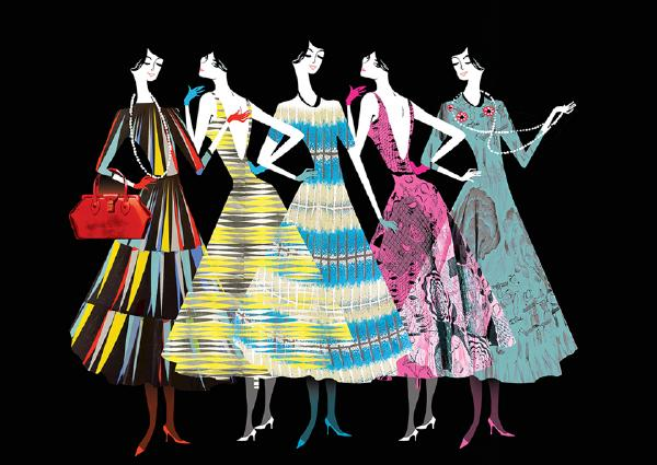 V&A Fashion Parade Concertina Print by Lesley Barnes. © Victoria and Albert Museum, London
