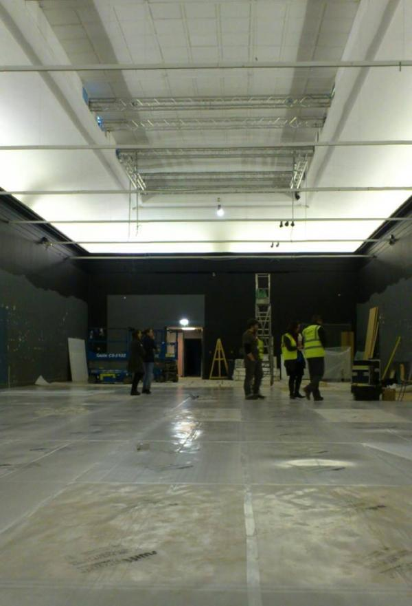 The exhibition under construction