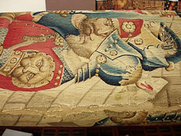'The War of Troy' woven in Tournai, Flandres (detail). Museum no. 6-1887