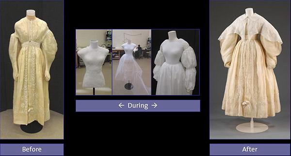 Photographs showing the stages of mounting a muslin pelisse on a mannequin