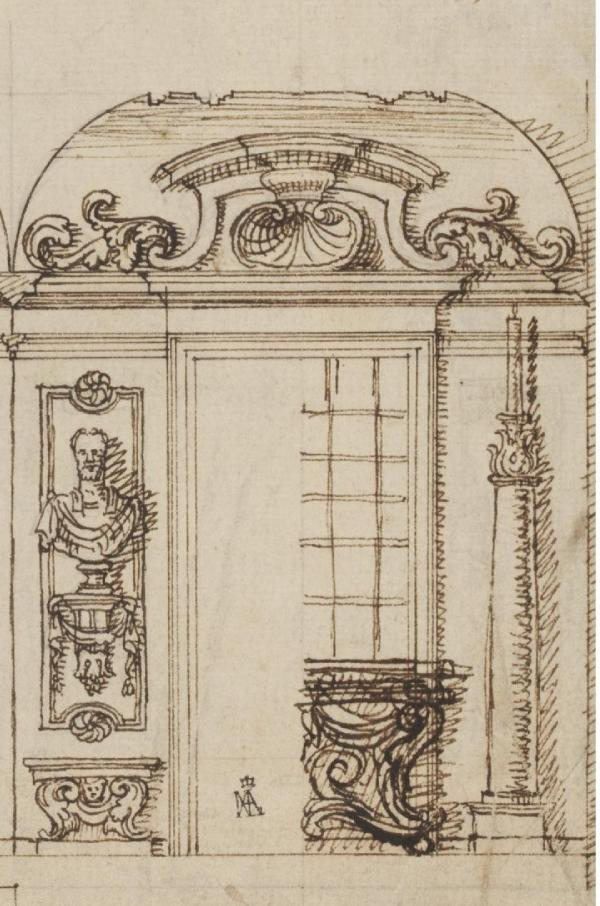 Detail of a design for an Italianate interior by John Talman, about 1711. Talman was the friend and mentor with whom Kent first travelled to Italy in 1709, and his influence upon Kent can be seen in our man's later work. This design for an elaborate interior presents the core features of Italianate style (portrait busts, Vitruvian columns, elaborate grotesque swirls) in the manner of a stage set. Talman, like Kent, was inspired by ancient and Renaissance forms. Museum number 3436:246 ©Victoria & Albert Museum