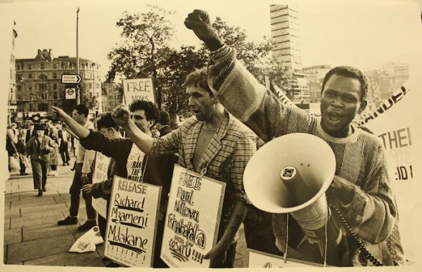 Noisily picketing against apartheid (Source: City of London Anti-Apartheid Group)