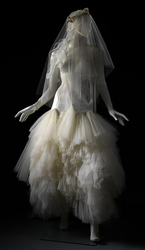 Wedding dress designed by Pam Hogg for Lady Mary Chateris. © Victoria and Albert Museum, London