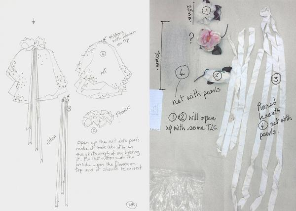 Sketch by Wendy Ramshaw alongside components of the headdress before treatment. © Victoria and Albert Museum, London
