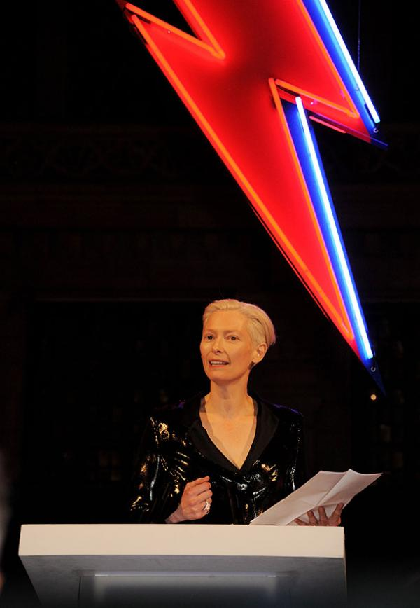 Tilda Swinton at the opening of David Bowie is