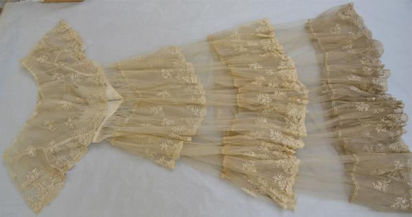 Detail of the dirty hem of the wedding dress