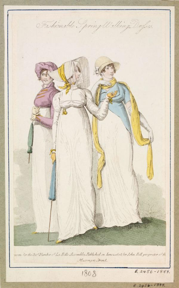 Fashionable Spring Walking Dresses, fashion plate,1808. Museum no. E.2456-1888