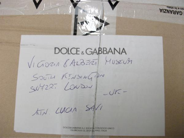 A delivery from Dolce and Gabbana. © Victoria and Albert Museum, London.