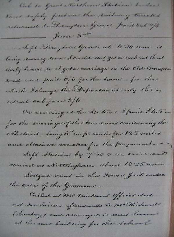 Extract from Diary for 3 June 1865