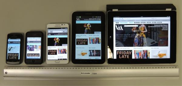 Various devices showing V&A responsive 2 column display in content mode
