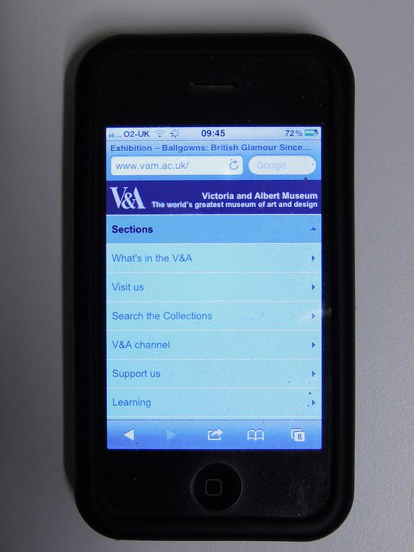 V&A mobile web display navigation mode