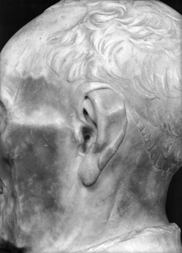 Bust of Giovanni Chellini, 1456, Ear Detail