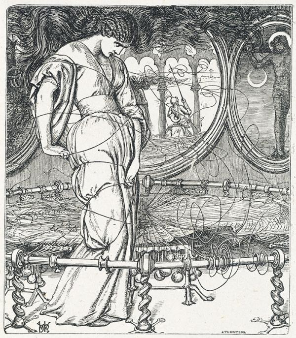 J Thompson, after W Holman Hunt, 'The Lady of Shalott', proof wood engraving, Museum no. E.30-1910. © Victoria & Albert Museum,