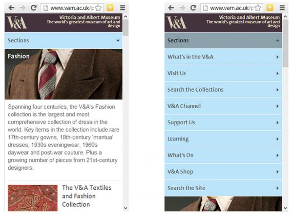 V&A Fashion page as displayed on a mobile phone