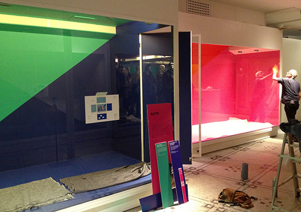 Display cases being prepared for objects