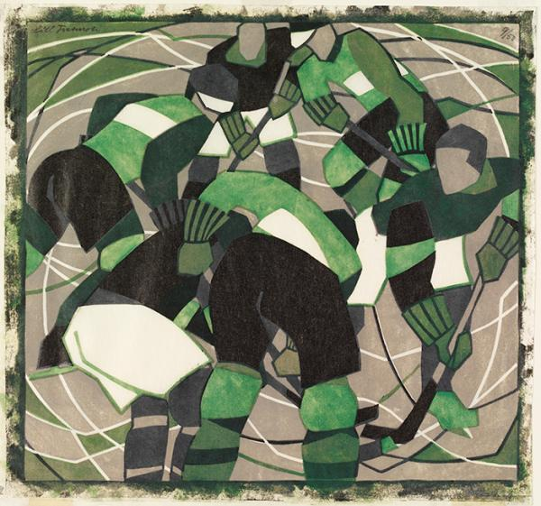 Ice Hockey, print, Lill Tschudi, 1933. Museum no. CIRC.163-1933. © Victoria and Albert Museum, London