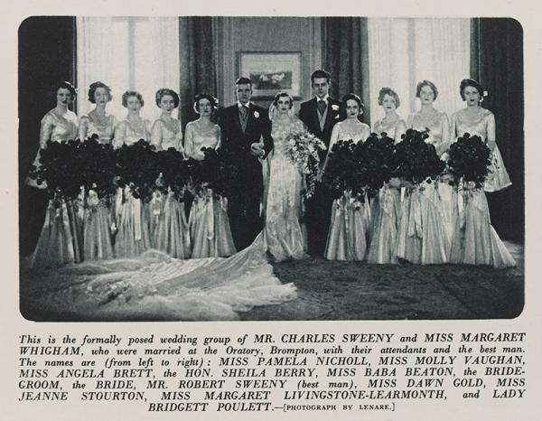 The wedding group of Mr Charles Sweeny & Miss Margaret Whigham, photographed by Lenare; from The Sketch, March 1st 1933. © Victoria and Albert Museum, London