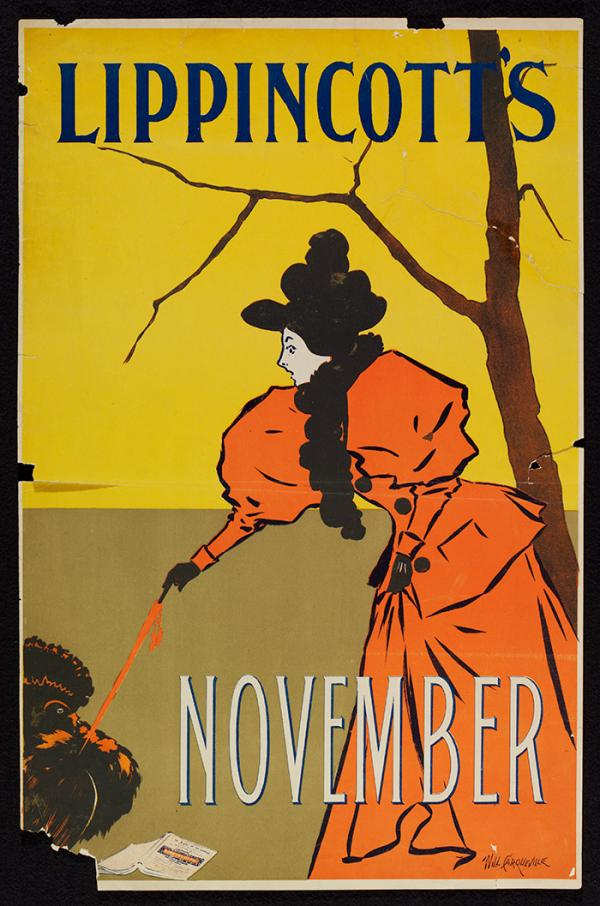 Lippincott's November, poster, Wil Carqueville, 1895. Museum no. E.1358-2004. © Victoria and Albert Museum, London.