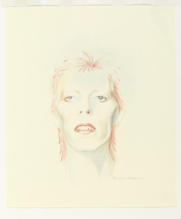 David Bowie Then: 1973; David Bowie portrait, pastel on paper, 2013 by Barbara Nessim