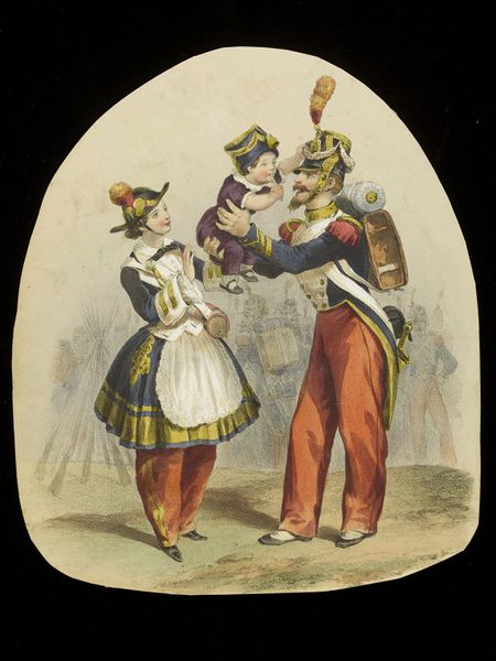 Lithograph of a man, woman and child, all in uniform