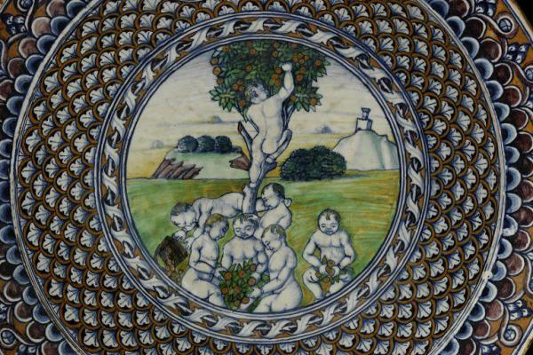 Detail of Children Playing, Maiolica Dish, 1485-1490